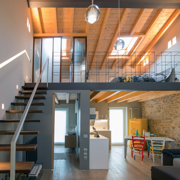 An industrial attic with wooden interior