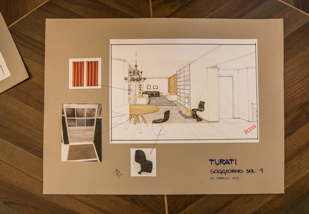 hand-drawn project living room