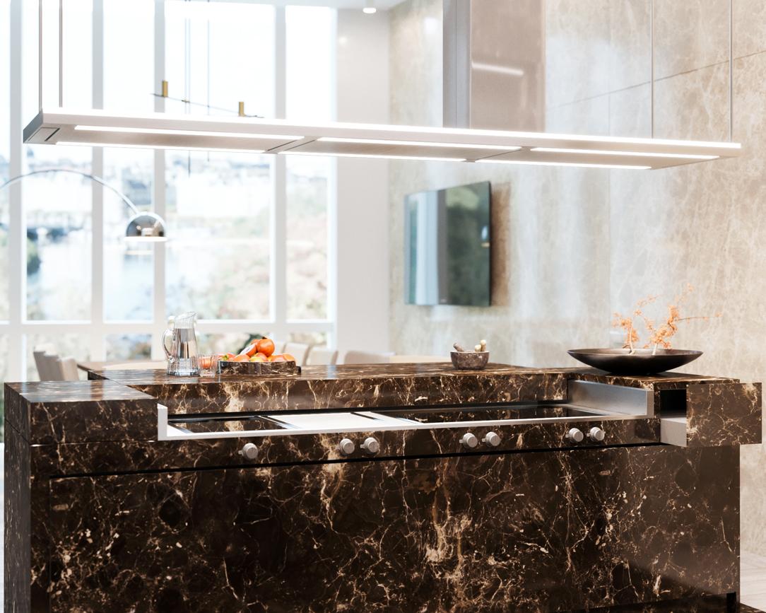 cucina in marmo Emperador render 03