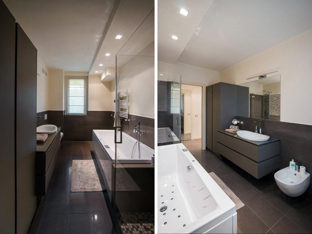 appartamento Bergamo essenziale contemporaneo bagno ospiti 01