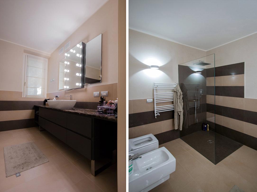appartamento Bergamo essenziale contemporaneo bagno padronale 02