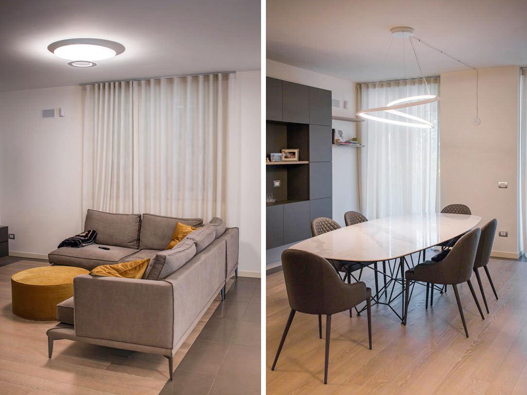 appartamento Bergamo essenziale contemporaneo dettagli zona giorno