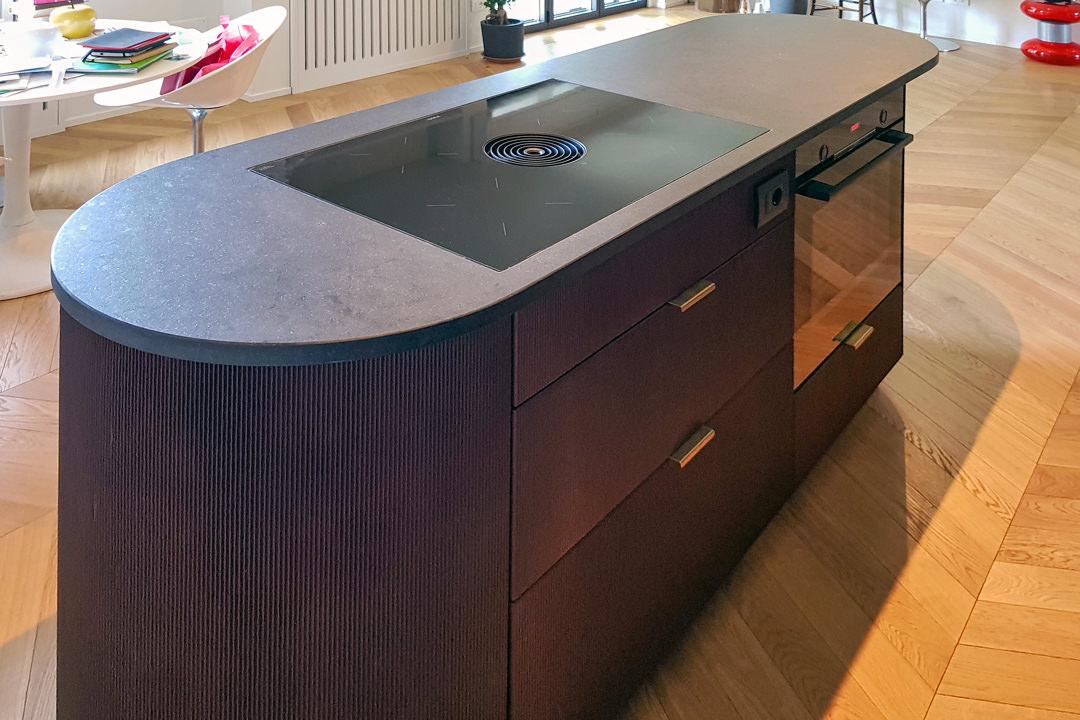 Modular kitchen island ribbed wood