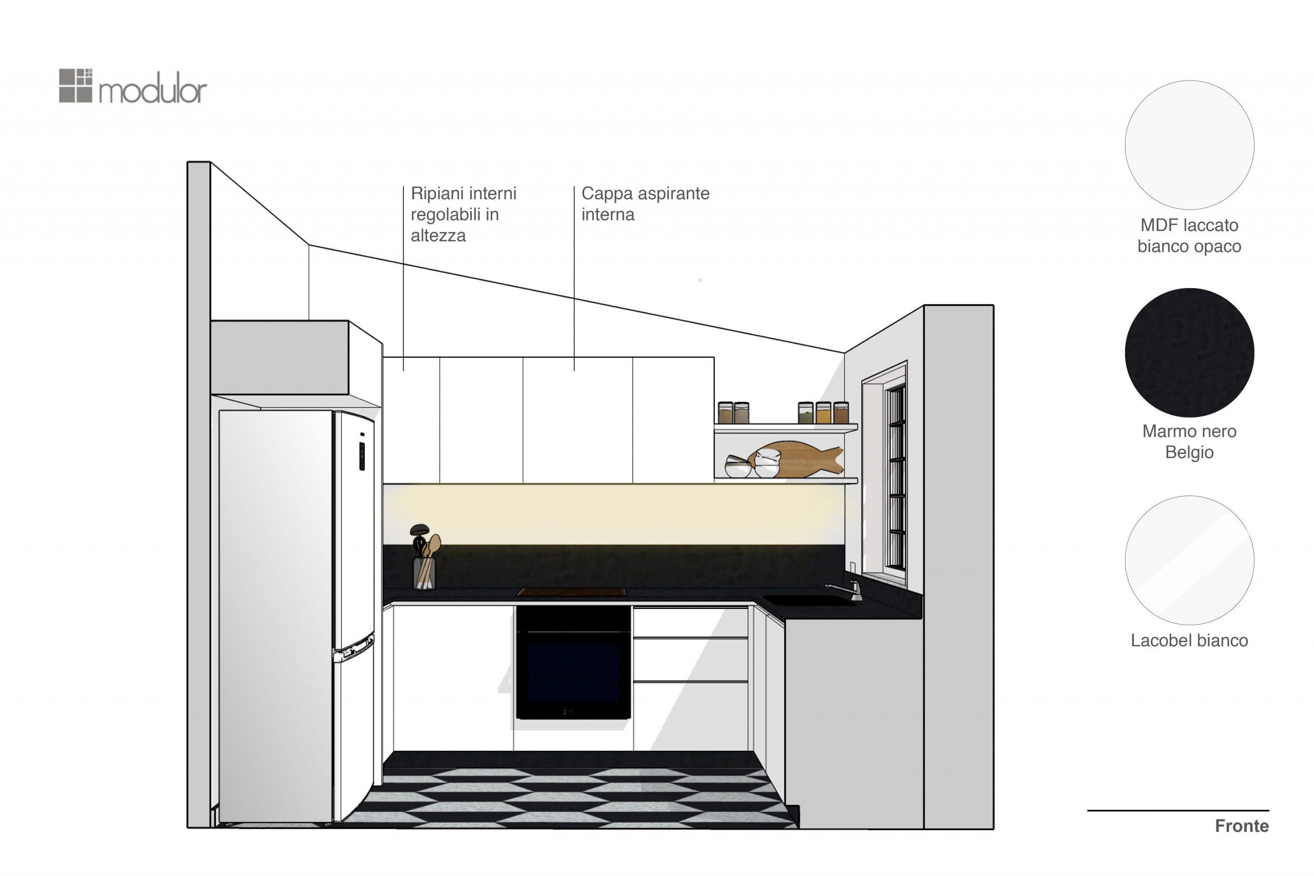 progettazione cucina Minimal Verona Fronte