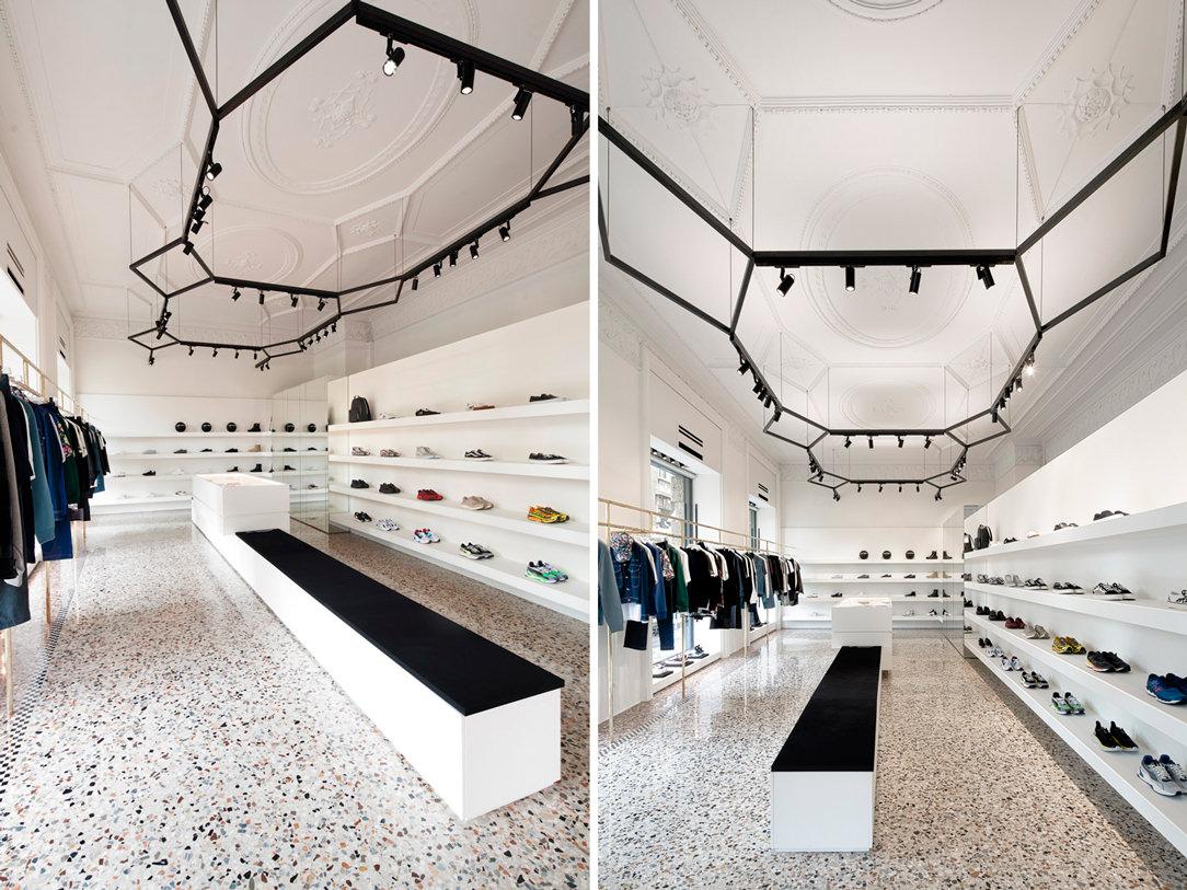 allestimento interno negozio sneakers THE F1RST