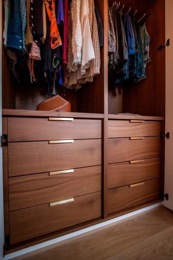 internal configuration wardrobe drawers with brass handles