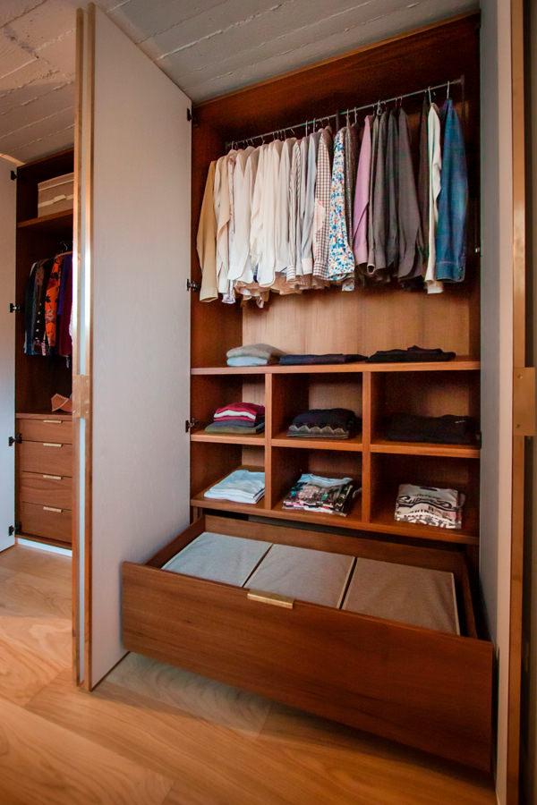 open drawers detail internal configuration wardrobe man