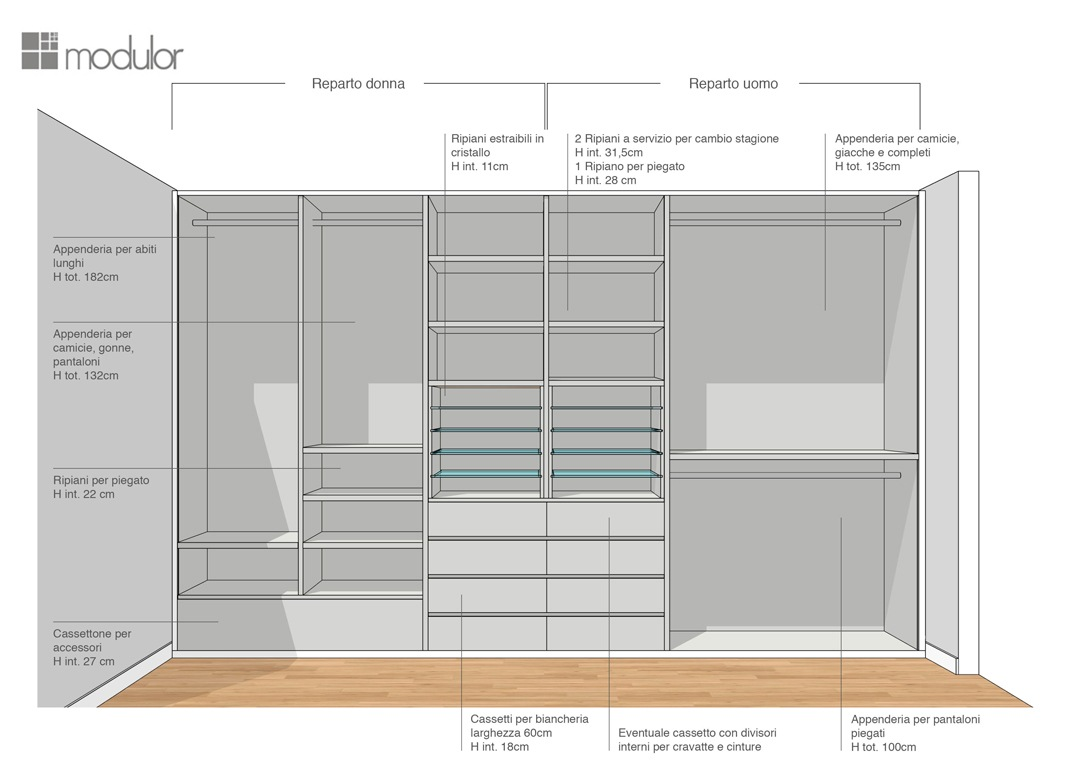 Modulor proposta configurazione interna armadio 01