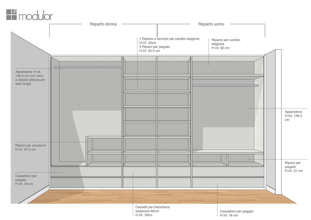 Modulor proposta configurazione interna armadio 03