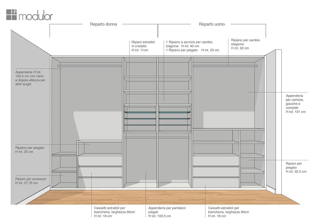 Modulor proposta configurazione interna armadio 04