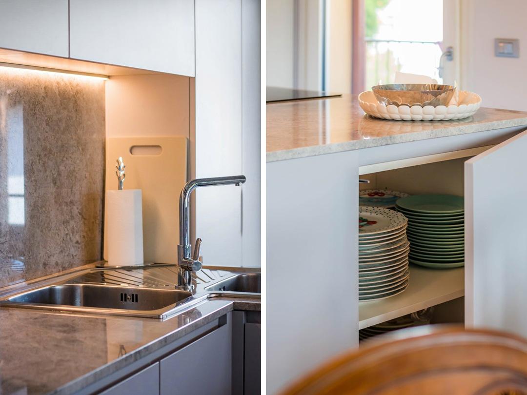 dettagli-cucina-ante-laccato-opaco-ripiani-interni-piano-marmo-lavello-angolo