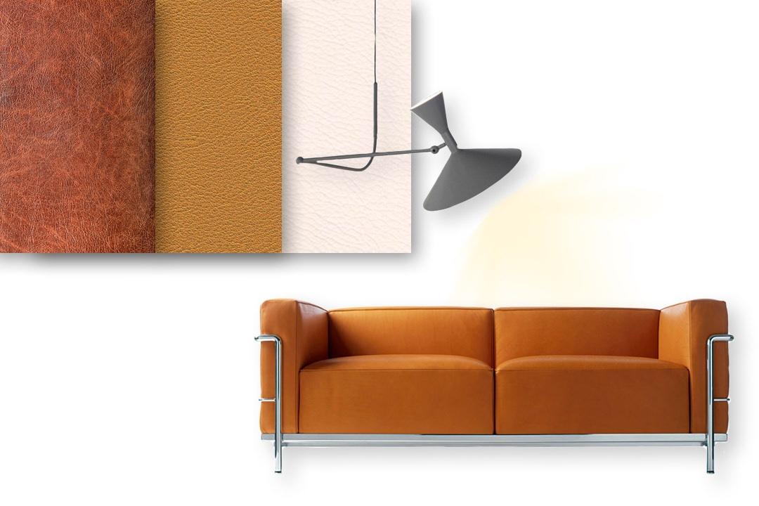 moodboard-stile-moderno-Modulor-divano-materiali-pelle