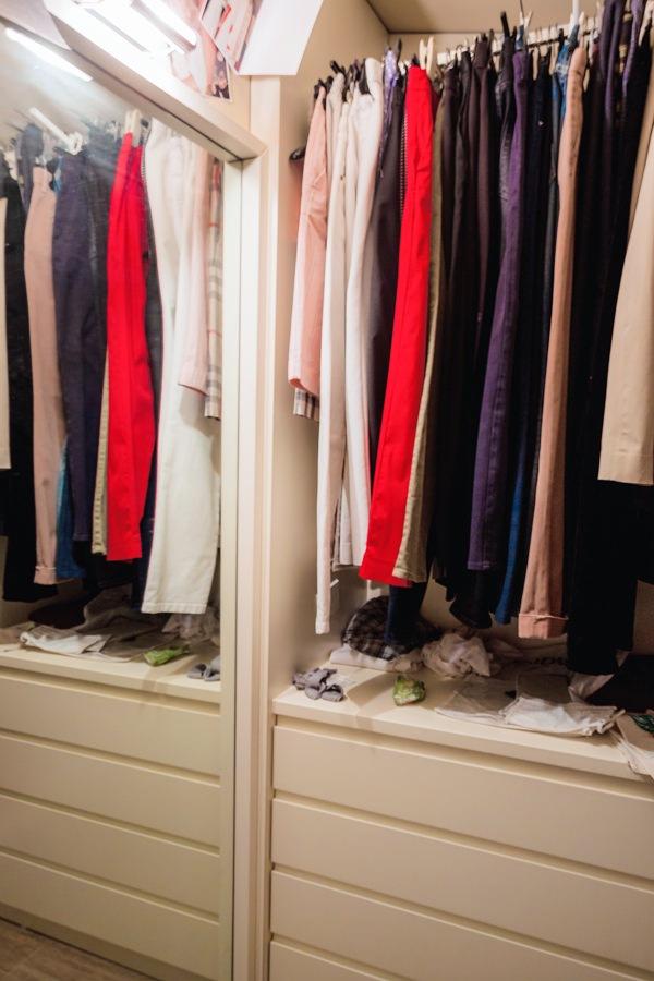 internal walk-in closet chest of drawers hanging mirror